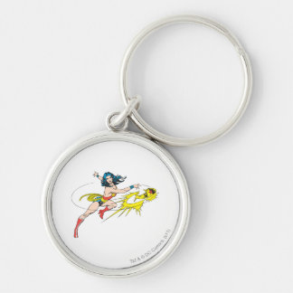 Wonder WomanThrows Crown Silver-Colored Round Key Ring