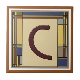 Wonderful Arts & Crafts Geometric Initial C Small Square Tile