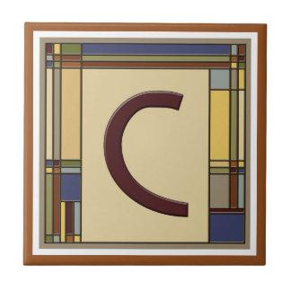 Wonderful Arts & Crafts Geometric Initial C Tile