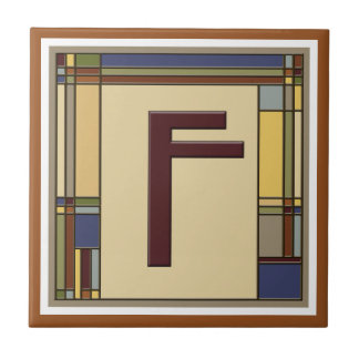 Wonderful Arts & Crafts Geometric Initial F Tile