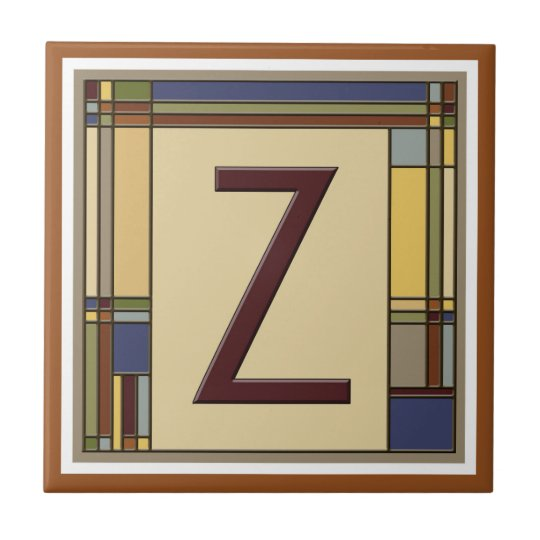 Wonderful Arts & Crafts Geometric Initial Z Small Square Tile