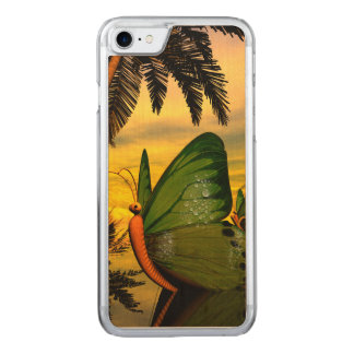 Wonderful butterflies ship in the sunset carved iPhone 7 case