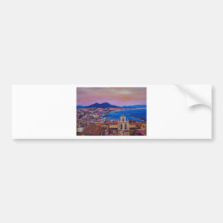 Wonderful City View of Naples with Mount Vesuv Bumper Sticker