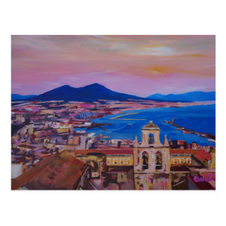 Wonderful City View of Naples with Mount Vesuv Postcard