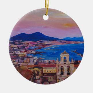 Wonderful City View of Naples with Mount Vesuv Round Ceramic Decoration