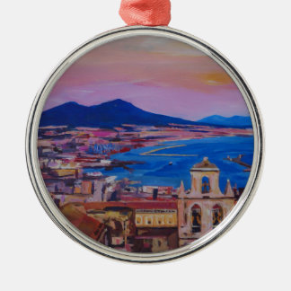 Wonderful City View of Naples with Mount Vesuv Silver-Colored Round Decoration