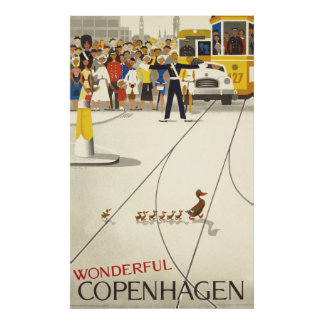 Wonderful Copenhagen Vintage Travel Poster