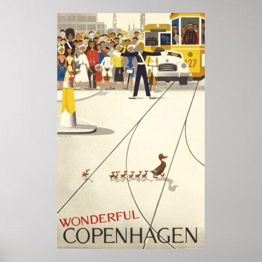 Wonderful Copenhagen Vintage Travel Poster