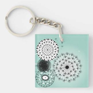 Wonderful Dandelions Blue Acrylic Keychain