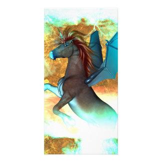 Wonderful dark unicorn with twisters photo card template