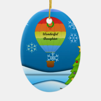 Wonderful Daughter, colorful hot air balloon Christmas Ornament