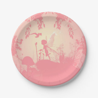 Wonderful fairy silhouette in pink with birds 7 inch paper plate