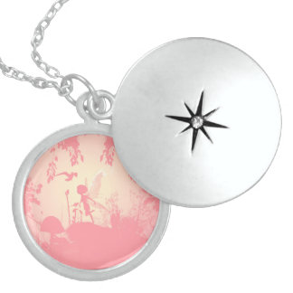 Wonderful fairy silhouette in pink with birds round locket necklace