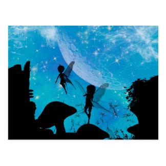 Wonderful fairy silhouette postcard