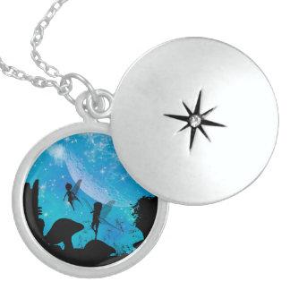 Wonderful fairy silhouette with mushrooms round locket necklace