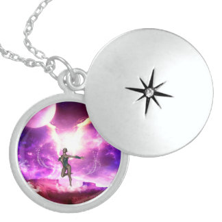 Wonderful  fairy with water wings round locket necklace