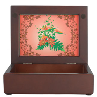 Wonderful flowers and leaves with floral elements keepsake boxes