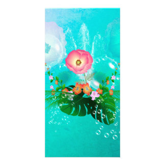 Wonderful flowers with bubbles customized photo card