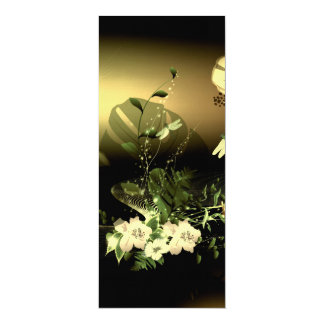 Wonderful flowers with dragonfly 10 cm x 24 cm invitation card