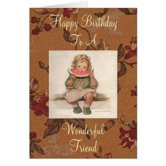 Wonderful Friend Vintage Birthday Card