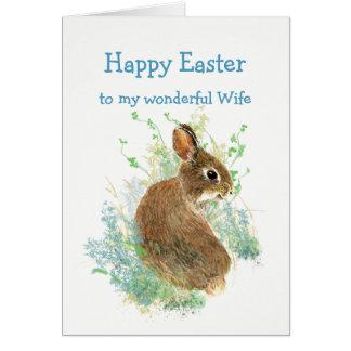 Wonderful Friend Wife Easter Cute Bunny Rabbit Card