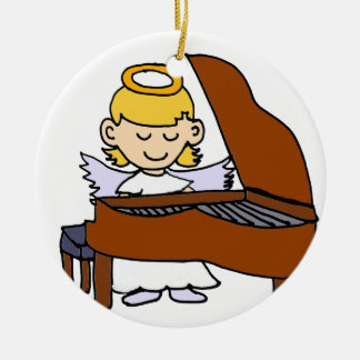 Wonderful Girl Angel Playing Piano Christmas Ornament