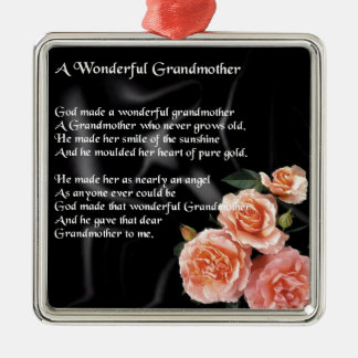 Wonderful Grandmother Poem - flowers on black Silver-Colored Square Decoration