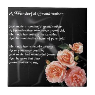 Wonderful Grandmother Poem - flowers on black Small Square Tile