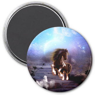 Wonderful horse with moon 7.5 cm round magnet