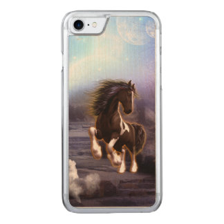 Wonderful horse with moon carved iPhone 7 case
