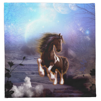 Wonderful horse with moon in the night cloth napkin