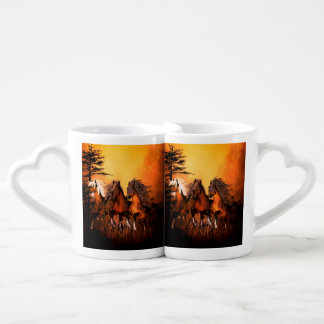 Wonderful horses running by a forest lovers mug