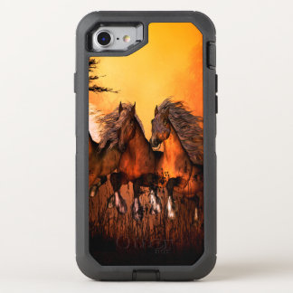Wonderful horses running by a forest OtterBox defender iPhone 8/7 case