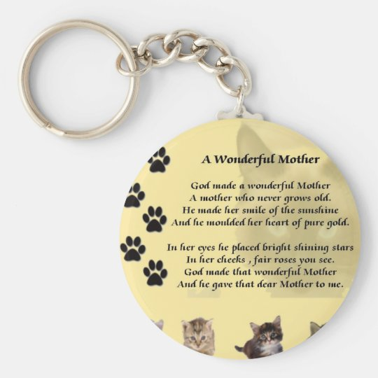 Wonderful Mother - Cats Basic Round Button Key Ring