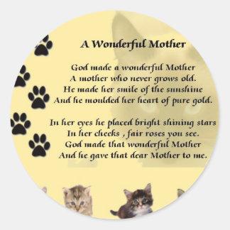 Wonderful Mother - Cats Classic Round Sticker