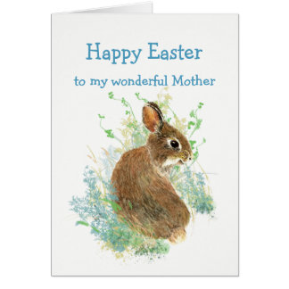 Wonderful Mother Custom Easter Cute Bunny Rabbit Card
