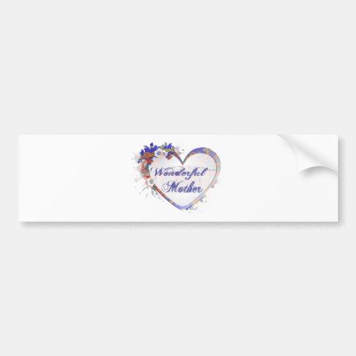 Wonderful Mother Floral Heart Gifts Bumper Sticker