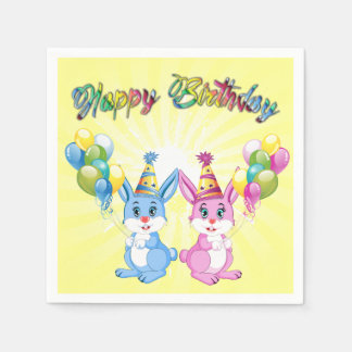 Wonderful Pink and Blue Bunnies Birthday Cartoon Disposable Napkins