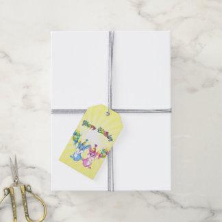 Wonderful Pink and Blue Bunnies Birthday Cartoon Gift Tags