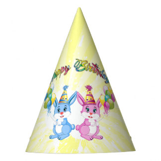 Wonderful Pink and Blue Bunnies Birthday Cartoon Party Hat