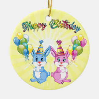 Wonderful Pink and Blue Bunnies Birthday Cartoon Round Ceramic Decoration