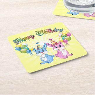 Wonderful Pink and Blue Bunnies Birthday Cartoon Square Paper Coaster