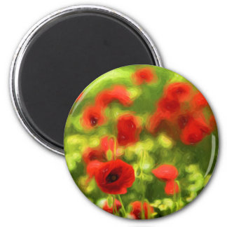 Wonderful poppy flowers VI - Wundervolle Mohnblume 6 Cm Round Magnet
