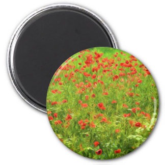 Wonderful poppy flowers VII - Wundervolle Mohnblum 6 Cm Round Magnet