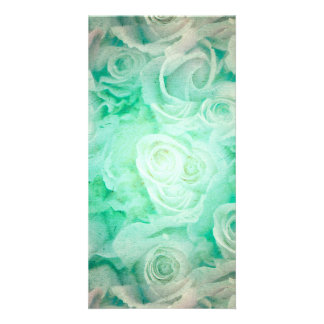 Wonderful roses pattern in soft green colors picture card