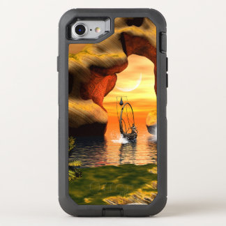 Wonderful seascape with rock and lamp boat OtterBox defender iPhone 7 case