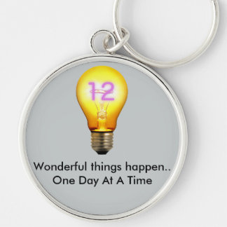 Wonderful things happen.. One Day At A Time Silver-Colored Round Key Ring