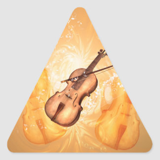 Wonderful violin with violin bow on red background triangle sticker