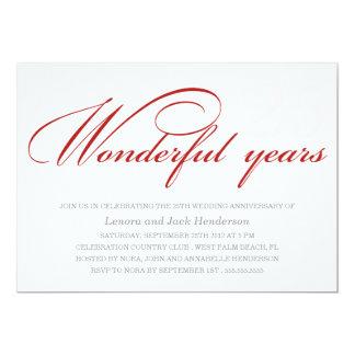 WONDERFUL YEARS | WEDDING ANNIVERSARY INVITIATION 13 CM X 18 CM INVITATION CARD