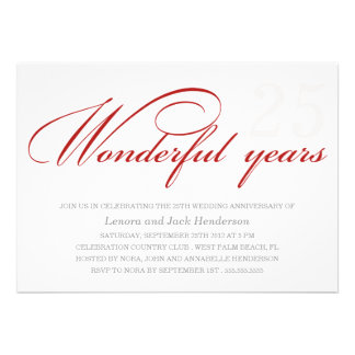 WONDERFUL YEARS | WEDDING ANNIVERSARY INVITIATION PERSONALIZED ANNOUNCEMENT